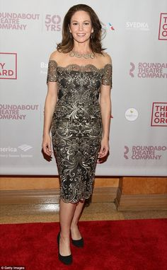 She's Leading lady! Diane Lane stunned in a shimmery, silver dress as she arrived for the Broadway opening night of play The Cherry Orchard in New York City on Sunday Metallic Dress, Silver Dress, Satin Dresses, Strapless Dress Formal, Diane Lane Actress, Beauty Over 40, Combo Dress, Thing 1, Famous Women