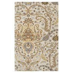 Add a pop of pattern to your living room or den, with this hand-tufted New Zealand wool rug, showcasing a damask-inspired motif in ivory.  ...