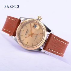 199.00$  Watch here - http://alim3t.worldwells.pw/go.php?t=32704314337 - Top Quality 35mm Parnis Fashion Watch Sapphire Crystal Rose Gold Dial Brown Strap 21 Jewels Business Men's Automatic Wristwatch
