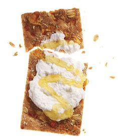 Snack idea: multigrain cracker with part-skim ricotta & honey, #snacks