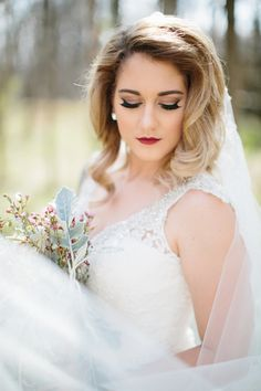 Love this winter look for a bride! | Bridal Portraits, Charlotte wedding, Charlotte wedding vendors, NC wedding, NC wedding vendors, Outdoor, Winter, bridal, Bridal portrait, details, dress, Dress details, gown, veil, Wedding dress, winter