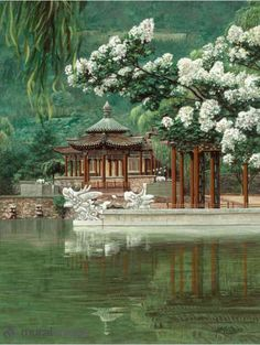 Wall Mural Photo of:Oriental Garden . Full wall mural size: wide by high x Prepasted, Dry Strippable, Removable. Japan Architecture, Japanese Garden Design, Anime Scenery, Photo Reference, Asian Art, Beautiful Landscapes, Wall Murals, Landscape Design, Concept Art