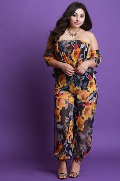 3c6c4bd82a8c1 Floral Mesh Ruffled Bardot Top and Slit Pants Set. This plus size ...