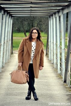 MFashion With Love: Curvy || Plus size || Outfit || Camicetta a stelline per la Pasquetta 2016 Curvy Plus Size, Autumn Inspiration, Plus Size Outfits, Coat, Jackets, Style, Fashion, Large Size Clothing, Down Jackets