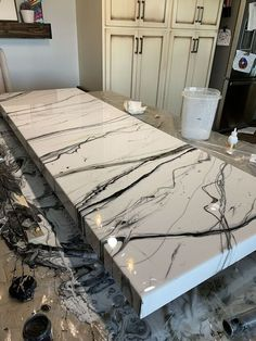 Faux Granite Countertops, Epoxy Countertop, Epoxy Resin Table, Diy Epoxy, Epoxy Floor Diy, Sandstone Color, Installing Laminate Flooring, Beton Diy, Diy Candle Holders