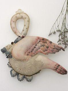 """textile art sculpture """"Svanhild"""" Dreamy art by Pantovola #textileart #sculpture #swan #dreamy #fantasy #magical #dollart #softdoll"""