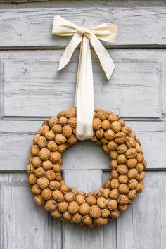 Holiday Walnut Wreath, Christmas Outdoor Indoor Natural Ornaments, Holiday Door Hanger, Home Decor