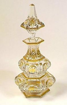 Baccarat Gilt Cut Crystal Napoleon III Perfume Bottle