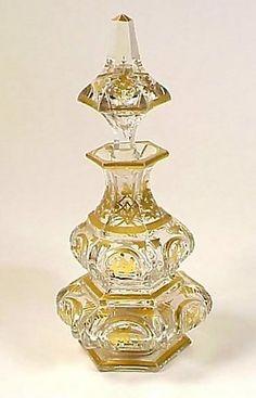 Baccarat Gilt Cut Crystal Napoleon III Perfume Bottle
