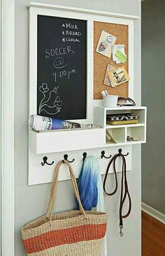 Keep your family organized with this entry message center. This clever project acts as a mail drop key holder and versatile message center that includes a chalkboard and cork board. Customize to suit your needs by adding two chalkboards or corkboards r Wand Organizer, Family Organizer, Mail Organizer Wall, Household Organization, Home Organization, Diy Tableau Noir, Decoration Hall, Decorations, Baby Dekor