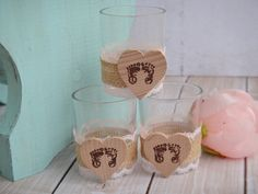 Burlap and Lace Rustic Baby Shower Favors