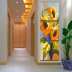 Cheap picture for living room, Buy Quality wall pictures directly from China decor wall pictures Suppliers: Giveaways wall sticker 3 Panel Modern Printed Sun Flower Painting Picture Canvas Art Home Decor Wall Pictures For Living Room Oil Painting Pictures, Canvas Pictures, Pictures To Paint, Wall Pictures, Wall Painting Flowers, Design Hall, Home Decor Paintings, Wall Paintings, Sunflower Art