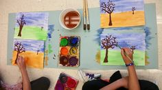 Autumn Perspective - we go outside and sketch trees along the horizon line.  Then we come in and paint!