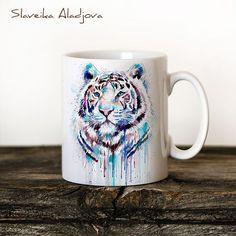 White Tiger Mug Watercolor Ceramic Mug Unique Gift di SlaviART