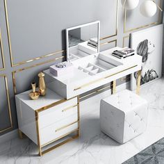 Vanity Table Set, Bedroom Decor For Small Rooms, Beauty Room Decor, Dressing Table With Drawers, Mirrored Bedroom Furniture, White Dressing Tables, Dressing Room Design, Black Makeup Vanity, Glossy White Desk