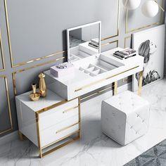 Dressing Table Design, Bedroom Decor For Small Rooms, Vanity Table Set, Mirrored Bedroom Furniture, Dressing Room Design, Dressing Table With Drawers, Black Makeup Vanity, Glossy White Desk, Beauty Room Decor