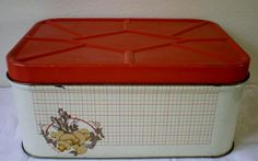 Vintage Metal / Tin Bread Box with Check by VINTAGEShopsDelight, $35.00