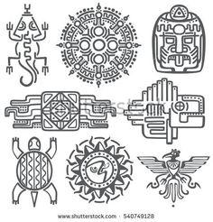 Ancient mexican vector mythology symbols. american aztec, mayan culture native totem patterns. Aztec and mexican tattoo, illustration of mayan symbol tattoo.