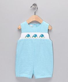 $21.99 SO CUT FOR A BOY Take a look at this Turquoise Gingham Car Seersucker Shortalls - Infant by Petit Pomme on #zulily today!