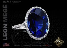 Custom make statement ring, featuring 10 carat oval cut blue sapphire set in hand forged platinum by Leon Mege.