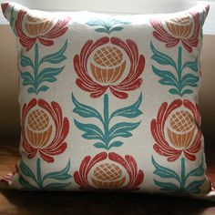 Folk Art Floral Home Decor hand printed linen pillow by giardino, $48.00