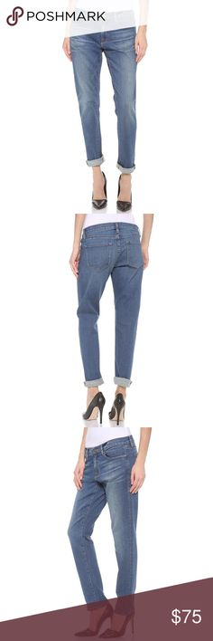 """FRAME Le Garçon Jeans Frame Le Garçon slim cuffed jeans in """"Berkeley Square"""". In excellent condition. Fading on the thighs and seat lend a lightly worn look to a pair of soft, slouchy jeans. Contrast stitching lends a vintage look. 5-pocket styling.  Single-button closure and zip fly.  Fabric: Stretch denim 93% cotton/6% polyester/1% spandex. Wash cold. Made in the USA.  MEASUREMENTS Rise: 8.5in / 21.5cm Inseam: 29in / 73.5cm Leg opening: 12in / 30.5cm     Tags: Follow game designer intermix…"""