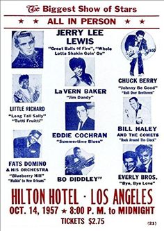 "'Jerry Lee Lewis - Hilton Hotel, Los Angeles 1957."" Fantastic A4 Glossy Print Taken from A Vintage Concert Poster by Design Artist http://www.amazon.co.uk/dp/B0154JT6VU/ref=cm_sw_r_pi_dp_Rea8vb0A80133"