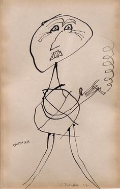 Portrait de Fautrier, 1947 - Ink, on paper
