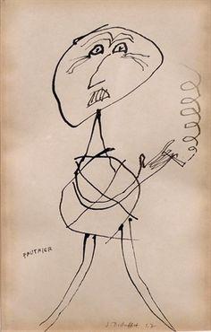 Jean Dubuffet - Portrait de Fautrier, 1947 - Ink, on paper