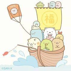 Sumikko gurashi sailing a boat