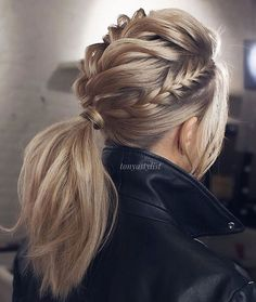 Braided Updo Hairstyles ❤️ Hair updos are really po… Updo braided hairstyles ❤️ Hair hair are very popular now and it's no wonder why. It does not matter if you are a student or a politician – there is always something for you! Valentine's Day Hairstyles, Braided Hairstyles Updo, Hairstyle Ideas, Braided Updo, Trendy Hairstyles, Twisted Ponytail, Ponytail Updo, Mohawk Braid, Rocker Hairstyles