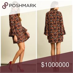 ! Stunning autumn color dress! LAST TWO! Floral Print Dress with Bell Sleeves and Split Mock Neckline Dresses