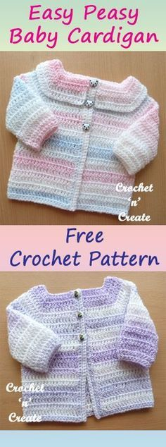 Easy Peasy baby cardigan, this one is also great for the beginner crocheter, #crochet