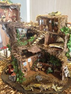 Pin by Krispy Girl on Fairy houses Fairy Garden Furniture, Fairy Garden Houses, Gnome Garden, Fairy Village, Fairy Tree, Miniature Fairy Gardens, Miniature Houses, Fairy Lanterns, Fairy Crafts