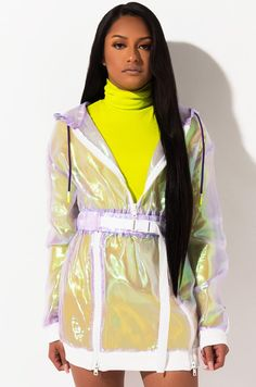 AKIRA Label Holographic Long Sleeve Zipper Belt Hoodie Dress, In Blue, Lavender Long Sleeve Short Dress, Long Sleeve Sweater, Plus Dresses, Dresses With Sleeves, Wrap Around Dress, Plus Clothing, Hooded Dress, Dress The Population, Karen Kane