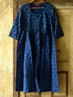 These tunics were hand blockprinted in simplistic indigo and grey colors