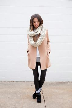 neutrals neutral outfit black boots liquid leggings knitted scarf infinity scarf coat winter outfit fall outfit layers fashion blogger