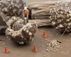 Miniature Diorama Photograph, Chocolate Construction, Construction Worker, 8x10 on Etsy, $10.00