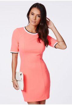 Missguided - Nolesa Coral Tailored Contrast Hem Shift Dress