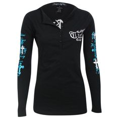 Cowgirl Tuff Women's Long Sleeve Embroidered Henley