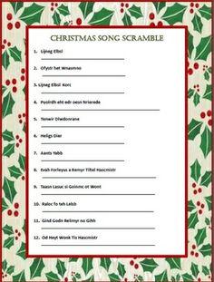 TWO CHRISTMAS SONG SCRAMBLES    $