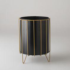 Richard Galef; #W75 Enameled Metal Waste Basket for Ravenware, c1953.