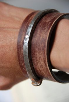Antique Barn Nail And Leather Cuff For Him, via Etsy.