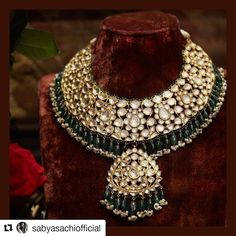 Sabyasachi Mukherjee Bridal Necklace set in 22k gold with uncut diamonds, emeralds and pearls.