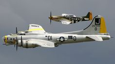 "british-eevee: ""B-17 and P-51 in formation (post war, location unknown) """