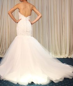 Free Shipping  Mermaid Wedding Dress Lace Wedding by Whitesrose, $428.00 like the low back