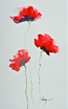 Modern Red Poppy Flower, original small watercolor painting , home decorate, wall decorate size ; 19.5 x 30 cm by Guykantawan on Etsy