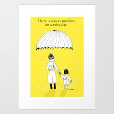 Mother and Daughter in the rain Art Print by Kamikire - $17.68