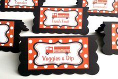 Firetruck Theme Food Tents - Menu Cards - Place Cards - Food Signs - Firetruck Party & Shower Decorations in Black and Red (6). $12.00, via Etsy.