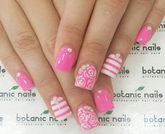 Pink with white designs